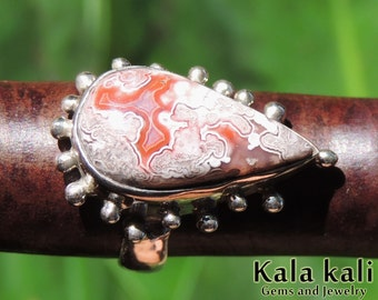 Crazy lace Agate Ring Pink Red Patterns Silver Ring Size 6 US