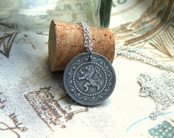 Lion necklace, Coin jewellery, Leo necklace, Mens necklace, Coin necklace, Lion pendant, Belgium coin 1916, Belgian lion coin, Lion keychain