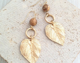 Boho Earring,Boho Gold Earring,Leaf Earring,Leaf Dangle Earring,Leaf Drop Earring,Leaf Tribal Earring,Leaf Marble Earring,Gold Leaf Earring