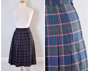 Vintage Skirt / Vintage 80s Skirt / Plaid Skirt / Tartan Plaid Skirt / 80s Preppy Skirt / Wool Skirt / Pleated Skirt / Size Small