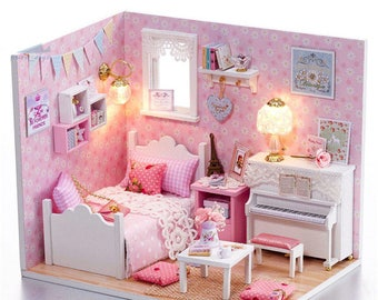 Dollhouse DIY Little Lovely Angels Room Music Happy Handcraft Pink