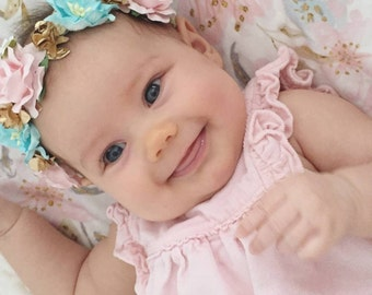 baby girl flower crown,flower crown ,boho ,shabby chic, pink flower crown