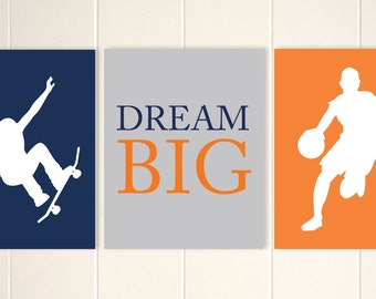 Men basketball, basketball boy wall art, skateboard wall art, teen boy wall art, kids room art, inspirational art for boys, Set of 3