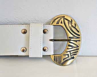 Vintage Wide White Belt Gold Buckle