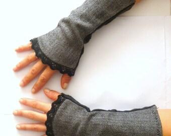 Retro wool black grey herringbone pattern and black lace cuffs fingerless gloves