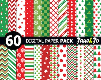 60 Christmas digital paper,christmas printable paper,Christmas digital paper pack,christmas background,Scrapbook paper,Christmas paper