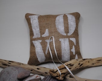 "Burlap/ jute ""LOVE"" Wedding Ring Bearer Pillow"