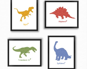 Dinosaur Print, Set Of 4 Prints, Dinosaur Wall Art, Dinosaur Nursery  Prints, T Rex Print, Baby Boy Nursery Decor