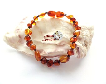 Baltic Amber Teething Bracelet / Anklet for Babies, Children & Adult - Cognac Amber Beads - Screw Clasp - Choose Your Length, AP-20