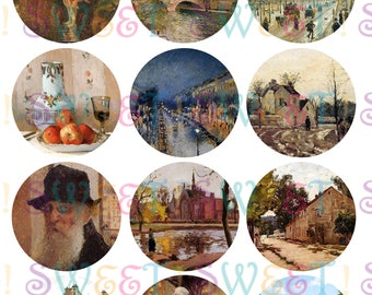 Edible Pissarro Painting Cupcake, Cookie, Oreo or Drink Toppers - Wafer Paper or Frosting Sheet.