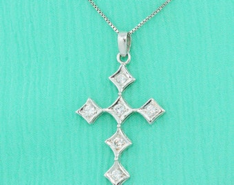White Gold Cross Necklace  , Cross Gold Necklace,Gold Cross, White gold Cross