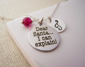 Dear Santa Charm Necklace -  Swarovski Birthstone Initial Personalized Sterling Silver Necklace / Gift for Her - Christmas Necklace