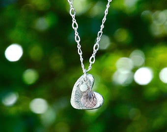 NEW Sterling Silver Mauve Heart Pendant / Quartz Teardrop / Everyday Necklace / Artisan Silver / Pale Pink / Foil Textured / OOAK jewelry