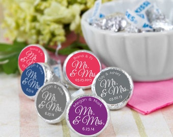 108 Hershey Kiss® Stickers - Wedding Favors, Shower Favors, Mr & Mrs Kiss Seals, Kiss Labels, Candy Labels, Personalized Kiss Labels
