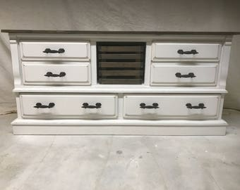 SOLD--Rustic Refinished Distressed White Dresser with Wood Basket and Cast Iron Handle Pulls-SOLD!!