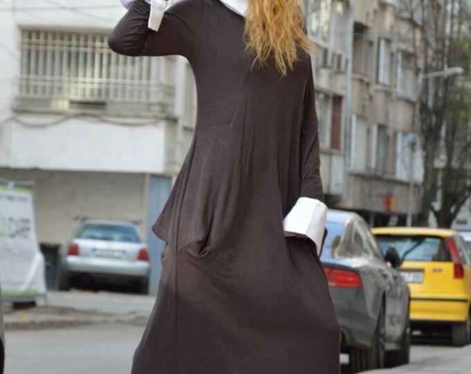 Maxi Elegant Collar Dress, Plus Size Long Dress, Extravagant Kaftan, Fashion Dress, Office Dress, Trendy Clothing by SSDfashion