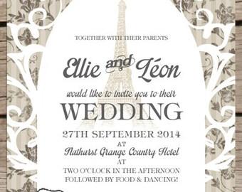 Parisian wedding invitation - destination wedding