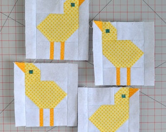 Baby Chick Quilt BLOCK Pattern, PDF, Instant Download, modern patchwork, chicken, animal, cute, farm