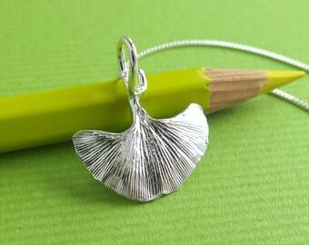 Ginkgo Leaf Jewelry - Pure Silver Real Leaf Pendant, Botanical Jewelry