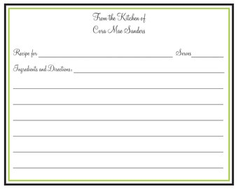 Black and Lime Recipe Card