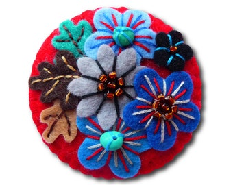 Japanese Art Inspired Free Form Embroidery Handmade Mini Felt Brooch - red