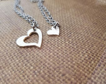 Mother & Daughter Heart Cutout Necklace SET in SOLID .999 fine silver+poem gift card-box