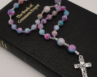 Anglican Rosary / Protestant Prayer Beads in Mountain Jade with TierraCast Pewter Floral Cross
