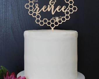 Personalized Modern Rustic Honey Bee Bumblebee Wedding Cake Topper | Custom Name