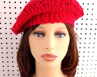 Crochet Beret Hat, Crochet Hat Womens Hat Trendy, Womens Crochet Hat, Crochet Beanie Hat, Andrea Beret Hat, Red Hat in Cotton, Crochet Hat