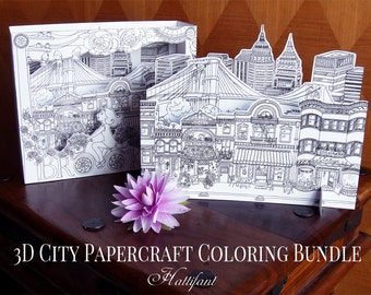 3D City Papercraft to COLOR - Brooklyn Inspired