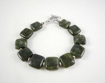 Jade Bracelet Dark Green Nephrite Jade Bracelet Green Jade Gemstone Bracelet Nephrite Jade Silver Bracelet Genuine Jade Bead Bracelet