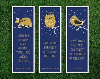 Long Bookmark | Martin Luther King Jr. Sarah Williams Norman Vincent Peale Inspirational Motivational Quotes About Stars Bookmarks Pack of 3