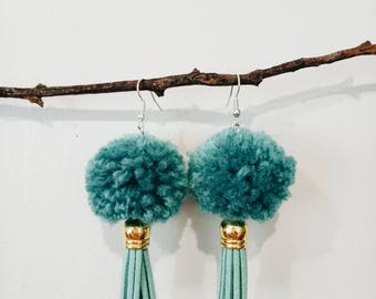Blue Pom Pom Tassel Earrings