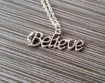 Silver Believe Necklace - Inspirational Jewelry - Personalized Necklace - Custom Gift - Inspirational Jewelry - Believe Message Necklace
