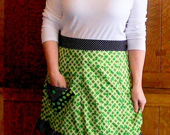 Irish Shamrock Patchwork Half Apron - Green St. Patricks Day Half Apron - Size S to M