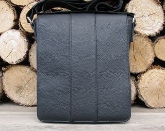 mens leather bag-leather messenger bag-black crossbody bag -iPad mini bag-crossbody iPad bag-vertical men's shoulder bag-leather iPad bag