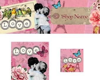 Küssen Kinder Etsy vorgefertigten Cover Photo Shop Banner Shop Symbol Avatar Set Shop Branding
