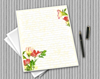 Printable writing paper, Digital stationery, digital paper, flower notepaper, printable journal pages, Printable flower stationery set
