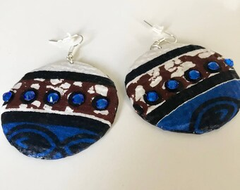 African print jewelry, round ankara earrings, African drop earrings, handmade African jewelry