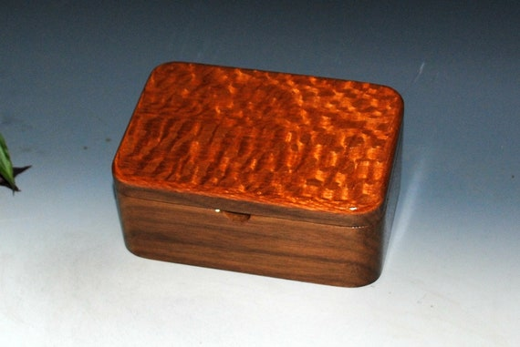 Wooden Box with Tray- Handmade Wood Box of Walnut & Lacewood-Jewelry Box, Desk Box, Box With Lid, Gift Box, Wooden Storage Box-Keepsake Box