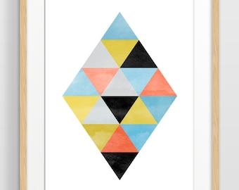 Large Geometric Wall Art Print, Abstract Watercolor Art, Mid Century Modern Art, Scandinavian Print, Minimalist Poster