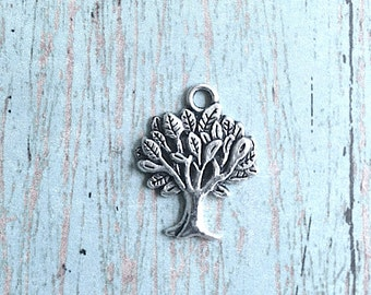 8 Tree charms (1 sided) antique silver tone - silver tree pendants, woodland charms, nature charms, botanical charms, forest charms, N14