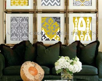 Citrine Mustard Yellow Print Wall Art Prints Modern Inspired  - Set of 6 -  11 1/2 x 15 1/4 Prints - Yellow / Grey (UNFRAMED)
