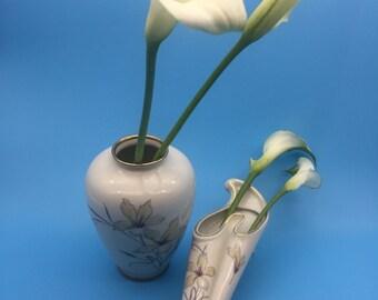 Vase, vintage, vase 50s, Wall Vase, 1950 's, Old vase, gold, white, flower vase, vase, mid century, 50s