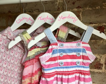 Childrens wooden hangers days of the week outfit hangers - set of 7 hand drawn, outfit planning, days of week hangers kids weekday hangers