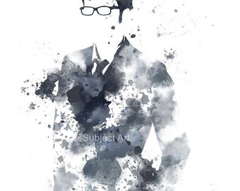 Doctor Who, David Tennant ART PRINT illustration, Police Box, Wall Art, Home Decor, Science Fiction