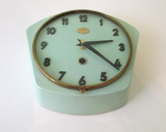 1950-60 Atomic Age French Turquoise JURA Wall Clock-Mint Green Wall Clock-Funky Freeform Shape-Perfect Working Condition-Mid Century Diamond