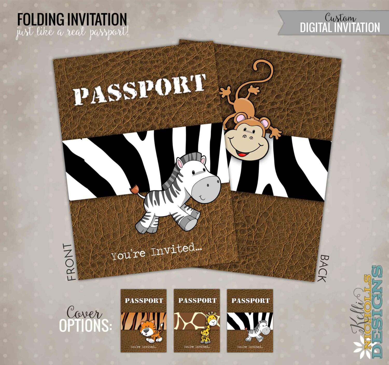 Invitación fiesta del cumpleaños del pasaporte Safari selva