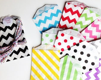small paper bags , 45 bitty bags, mini paper bags , chevron paper bags , stipped bags , polka dot bags