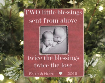 Twins Ornament Christmas Personalized Photo Ornament Gift 'Two Blessings' Quote for Twins